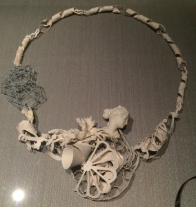 'The anamorphosis of Rhea' necklace in sterling silver, paint, porcelain, coral, by Nicole Polentas Melbourne 2010.