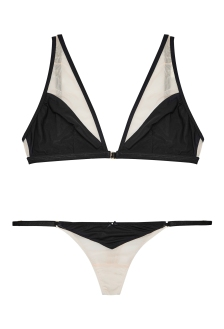 Porte A Vie, Gooseberry Intimates Black Nude Effortless Open Bra & String