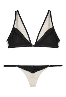 Porte A Vie, Gooseberry Intimates Black Nude Effortless Open Bra & String