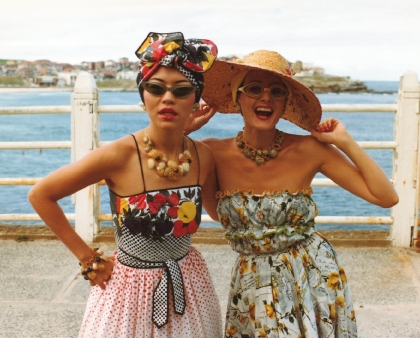 Linda Jackson and Jenny Kee wearing Linda Jackson's Tutti Frutti dress in 1975 Photographer: Ann Noon