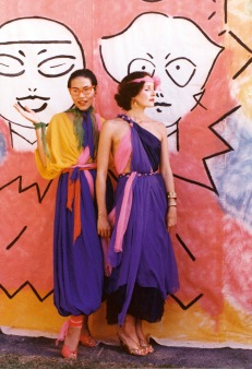 Jenny Kee and Linda Jackson in front of the backdrop used for the Flamingo Follies, Bondi Pavillion parade, 1975 Photographer: Tim Street-Porter