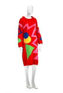FLAMINGO PARK, Sydney (fashion house); Jenny KEE (designer); Jan AYRES (knitter) Dress (1979) wool, synthetic yarn 103.5 cm (centre back) 53.0 cm (waist, flat) National Gallery of Victoria, Melbourne Puchased NGV Foundation, 2012