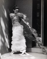 Henry Talbot. No title (Fashion illustration model wearing long feather dress) 1961–66