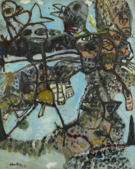 John Olsen born Australia 1928, lived in Europe 1956–60, 1965–67 Journey into the you beaut country no. 1 1961 oil on composition board 152.2 x 121.4 cm National Gallery of Victoria, Melbourne Purchased, 1961 © John Olsen, administered by Viscopy, Sydney