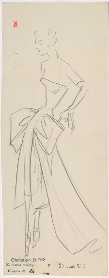 Drawing primarily on material from the House of Dior archive in Paris and the NGV Collection, the exhibition will also feature accessories, sketches, photographs, haute couture toiles, multimedia and archival material. Sketch by Christian Dior for the autumn−winter 1949 haute couture collection © Christian Dior