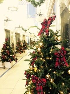 Tartan Xmas trees in Princes Arcade