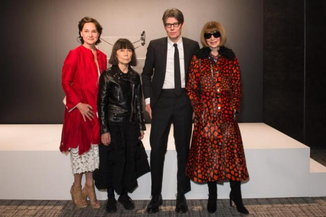 Photo 2 Caption: (from left) Carrie Rebora Barratt, Rei Kawakubo, Andrew Bolton, and Anna Wintour at The Met's Rei Kawakubo/Comme des Garçons: Art of the In-Between advance press event.