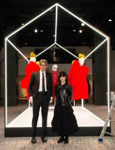 Photo 1 Caption:(from left) Andrew Bolton and Rei Kawakubo at The Met'sRei Kawakubo/Comme des Garçons: Art of the In-Betweenadvance press event.