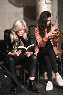 'Reading.' Source credit: Flaunter / dashboard.flaunter.com MBFWA 17 BTS // Flaunter ALICE MCCALL: MBFWA 17 Photographer: Tim Da Rin