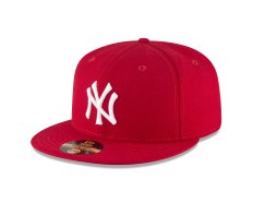 New Era 59FIFTY style New York Yankee Scarlet fitted cap. 1996. Size 7 ⅜. Wool cap with embroidered interlocking NY front logo. Yankees Top Hat logo rear embroidery. Made in the U.S.A (Buffalo, N.Y.) An original example of the first red cap ordered by request from Spike Lee to wear at game 3 of the 1996 world series playoffs