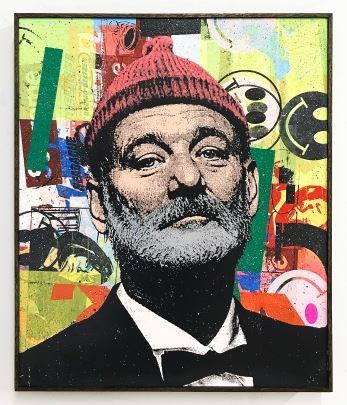 "BAD DADS VIII Greg Gossel ""Zissou (Yellow)"" mixed media on wood panel 24"" x 20"""