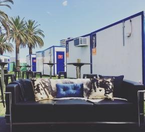 Artist lounge under the palms in St Kilda.
