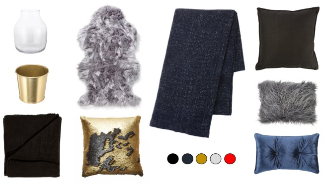 Faux fur, playful sequin cushions and throws