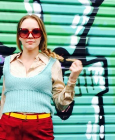 Brooke wears clothing and belt from ML Vintage, sunglasses from The Garb Wire collection