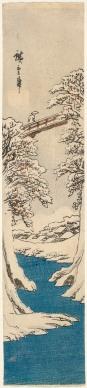 Utagawa Hiroshige Japan 1797–1858 Monkey bridge in winter (Fuyu no surubashi) 1843–45 colour woodblock 33.5 x 7.3 cm (image) 34.0 x 7.3 cm (sheet) Felton Bequest, 1910 (521-2) National Gallery of Victoria, Melbourne Felton Bequest, 1910