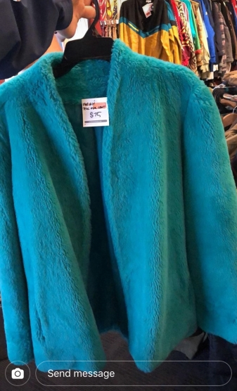 Teal faux fur coat from Hunter Gatherer Fitzroy