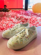 Sarah masterfully customised these plimsoles to suit her creative. Genius.