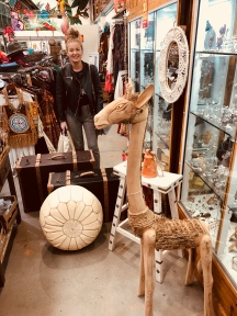 I ventured out to Ishka's Clayton warehouse to assist with propping suggestions, which, of course included a wooden camel statue.