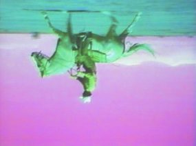 Still from Bruce Nauman. Green Horses. 1988. Video installation (color, 59:40 min.) with two color video monitors, two DVD players, video projector, and chair, dimensions variable. Purchased jointly by the Albright-Knox Art Gallery, with funds from the Bequest of Arthur B. Michael, by exchange; and the Whitney Museum of American Art, New York, with funds from the Director's Discretionary Fund and the Painting and Sculpture Committee, 2007. © 2018 Bruce Nauman/Artists Rights Society (ARS), New York. Photo: Ron Amstutz