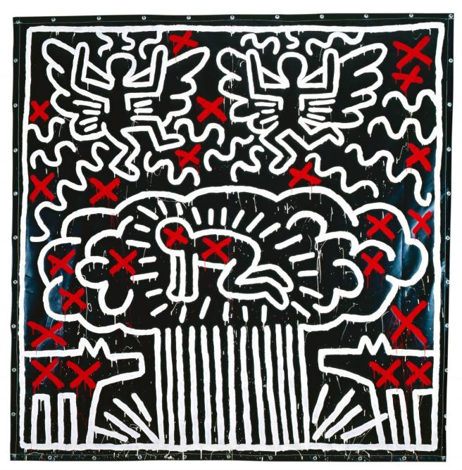 Keith Haring Untitled 1982 synthetic polymer paint on vinyl tarpaulin 308.6 x 301.6 cm Private collection Keith Haring artwork © Keith Haring Foundation