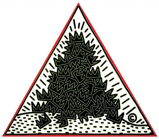 Keith Haring A Pile of Crowns for Jean-Michel Basquiat 1988 synthetic polymer paint on canvas 304.8 x 304.8 x 304.8 cm The Keith Haring Foundation, New York Keith Haring artwork © Keith Haring Foundation